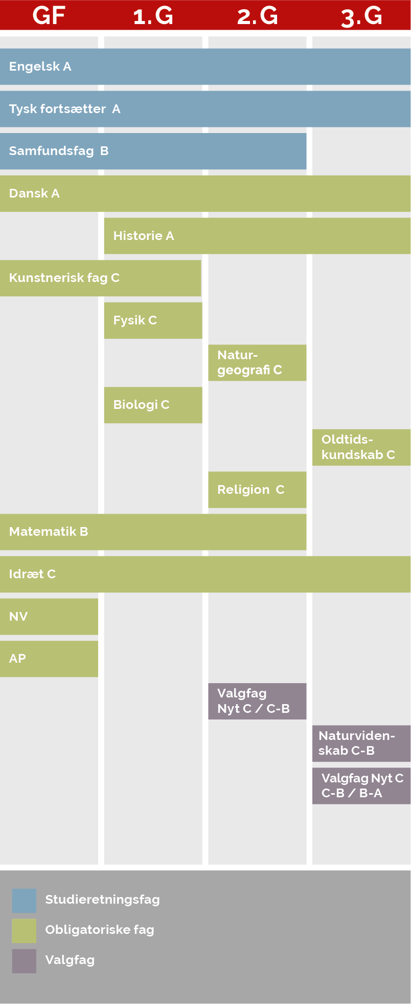 En grafisk model der viser, hvornår du har hvilke fag på denne studieretning. Af modellen fremgår følgende:  Engelsk og tysk fortsætter på A-niveau, som er to studieretningsfag, har du både i  grundforløb,1g., 2.g og 3.g. Samfundsfag på B-niveau, som er dit tredje studieretningsfag, har du i grundforløb, 1.g og 2.g. Dansk på A-niveau, som er et obligatorisk fag, har du både i grundforløb, 1.g, 2.g og 3.g. Historie på A-niveau, som er et obligatorisk fag, har du i 1.g, 2.g og 3.g. Kunstnerisk fag på C-niveau, som er et obligatorisk fag, har du i grundforløb og 1.g. Fysik og biologi på C-niveau, som er obligatoriske fag, har du kun i 1.g. Naturgeografi og religion på C-niveau, som er obligatoriske fag, har du i 2.g.  Oldtidskundskab på C-niveau, som er et obligatorisk fag, har du i 3.g Matematik på B-niveau, som er et obligatorisk fag, har du i grundforløb, 1.g og 2.g. Idræt på C-niveau, som er et obligatorisk fag, har du i grundforløb, 1.g, 2.g og 3.g. NV og AP, som er obligatoriske fag, har du kun i grundforløb. I 2.g har du et valgfag, som enten er et nyt C-niveau-fag eller et fag, du hæver fra C-niveau til B-niveau. I 3.g skal du hæve et naturvidenskabeligt fag på C-niveau til B-niveau samt enten vælge et nyt valgfag, hæve et valgfag på C-niveau til B-niveau eller hæve et valgfag fra B-niveau til A-niveau.